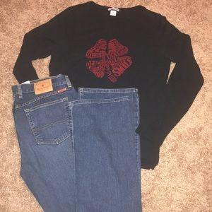 Lucky Brand Jeans & long sleeve shirt. 14long &XL